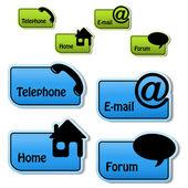 Vector banners - teléfono, correo electrónico, página de inicio, foro — Vector de stock