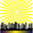 Royalty-Free Stock Vector Image: Vector sun above city