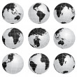 Vector globes various turn — Wektor stockowy #11554185