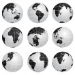 Vector globes various turn — Vettoriale Stock #11554185
