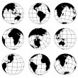 Stock Vector: Vector globes various turn