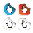 Vector stickers with cursor of hand — Stock Vector