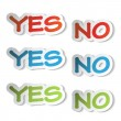 Vector stickers - yes, no — Stock Vector