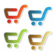 Vector stickers of shopping trolley — Stock Vector