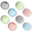 Vector stickers of globe - Imagen vectorial