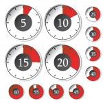 set vettoriale di timer rosso — Vettoriale Stock