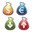 Vector buttons of money symbol — Stock Vector