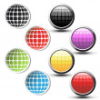 Vector globe stickers and buttons - Imagen vectorial