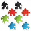 Vector stickers of puzzle - Imagen vectorial