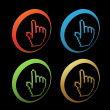Vector buttons - cursors of hand — Stock Vector