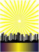 Vector sun above city — Stock Vector