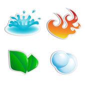 Vektor-sticker - wasser, luft, feuer, pflanze — Stockvektor