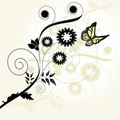 Vector floral background with butterfly — Stockvector