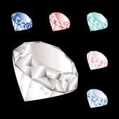 Conjunto de vetores de diamantes — Vetorial Stock