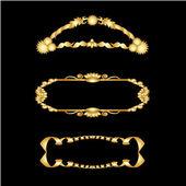 Vector conjunto de marcos dorados — Vector de stock