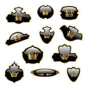Vector etiquetas con coronas de oro — Vector de stock