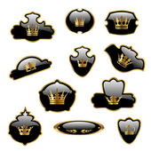 Vector labels with gold crowns — Stock Vector