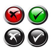 Marca de verificación botones del vector — Vector de stock