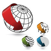 Vector globes with arrows — Stock Vector