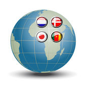 Vector flags on the blue globe — Stock Vector