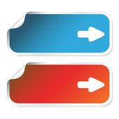 Vector stickers with arrow — Stock Vector