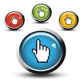 Vector botones con cursor de mano — Vector de stock