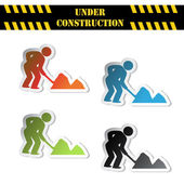 Vector stickers - under construction — Stock Vector