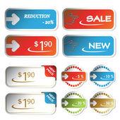 Vector shopping stickers — Stock Vector