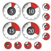 Vector conjunto de temporizadores rojos — Vector de stock