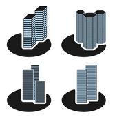 Vektor skyskrapa symboler — Stockvektor
