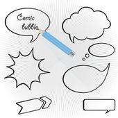 Vector discurso burbujas con lápices — Vector de stock