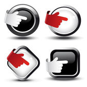 Vector buttons with curled hand — Stock Vector