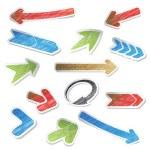 Vector scratch arrow stickers — Stock Vector #11625622