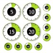 Stock Vector: Vector set of green timers