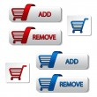 Vector add delete shopping cart item — Stock Vector