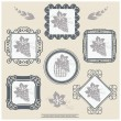 Stock Vector: Vector wine labels with ornament frames