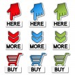 Vector pointer stickers - here, more, buy — Stock Vector