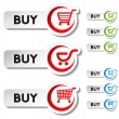 Stock Vector: Vector shopping cart item - buy button