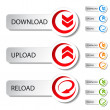 Vector button - download, reload, upload — Stock Vector