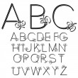 Stock Vector: Vector black and white font alphabet