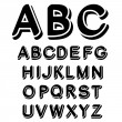 Vector black and white font alphabet — Stock Vector #11627004