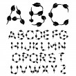 Vector black and white font alphabet — Stock Vector