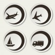 Vector shipping symbols - car, ship, plane - 图库矢量图片