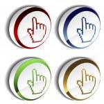 Vector pointer - cursor of hand on the button — Stock Vector #11627064