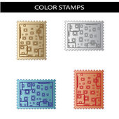 Vector stamps with squared design — Stock Vector