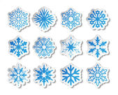 Vector stickers voor snowflake — Stockvector