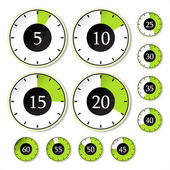 Vector set of green timers — Stock Vector
