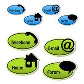Wektor banery - telefon, e-mail, strona główna, forum — Wektor stockowy