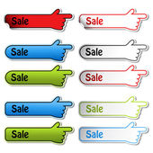 Vector sale stickers of hand — Stock Vector