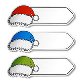 Vector Santa hats with label — Stock Vector